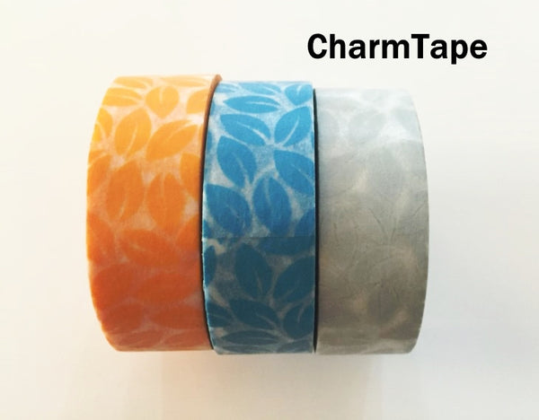 Leaf Washi Tape 15mm x 10 meters Grey, yellow, blue WT1012 - CharmTape - 2