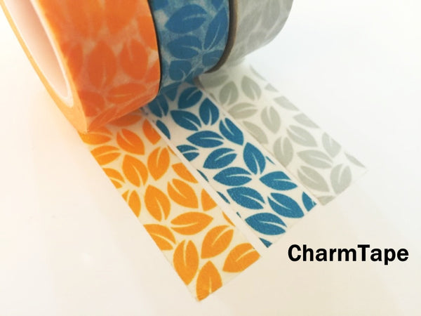 Leaf Washi Tape 15mm x 10 meters Grey, yellow, blue WT1012 - CharmTape - 6