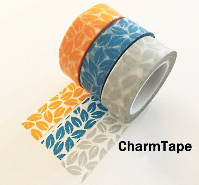 Leaf Washi Tape 15mm x 10 meters Grey, yellow, blue WT1012 - CharmTape - 1