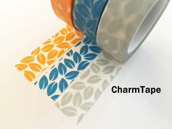 Leaf Washi Tape 15mm x 10 meters Grey, yellow, blue WT1012 - CharmTape - 7