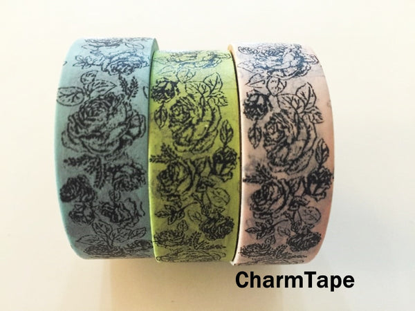 Botanic Rose Drawing Washi Tape 15mm x 10m  teal, pink, light green WT210 - CharmTape - 2