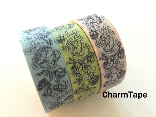 Botanic Rose Drawing Washi Tape 15mm x 10m  teal, pink, light green WT210 - CharmTape - 1