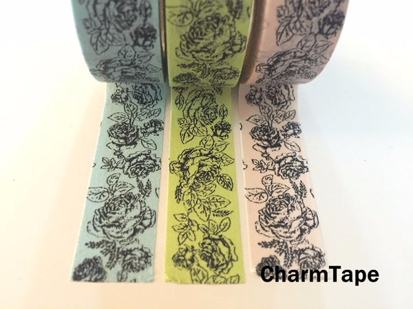 Botanic Rose Drawing Washi Tape 15mm x 10m  teal, pink, light green WT210 - CharmTape - 5