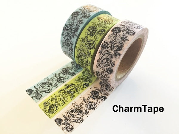 Botanic Rose Drawing Washi Tape 15mm x 10m  teal, pink, light green WT210 - CharmTape - 6