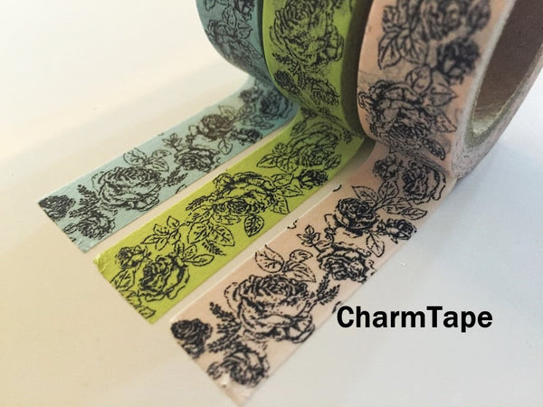 Botanic Rose Drawing Washi Tape 15mm x 10m  teal, pink, light green WT210 - CharmTape - 7