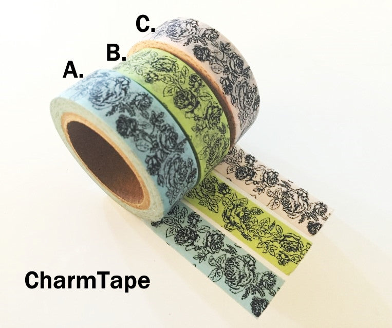 Botanic Rose Drawing Washi Tape 15mm x 10m  teal, pink, light green WT210 - CharmTape - 3