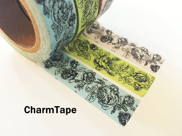 Botanic Rose Drawing Washi Tape 15mm x 10m  teal, pink, light green WT210 - CharmTape - 8