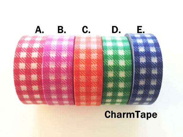 Gingham check Washi Tape 15mm x 10m WT30 - CharmTape - 15