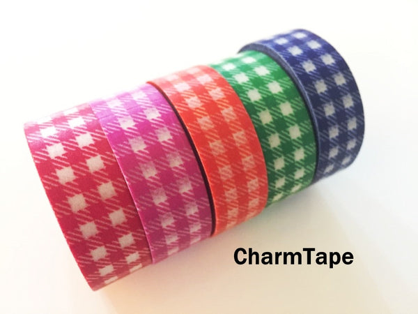 Gingham check Washi Tape 15mm x 10m WT30 - CharmTape - 1
