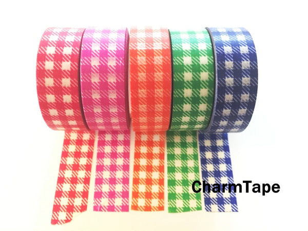 Gingham check Washi Tape 15mm x 10m WT30 - CharmTape - 17