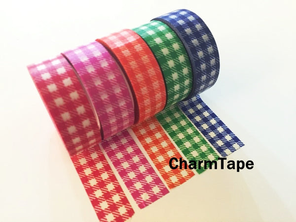 Gingham check Washi Tape 15mm x 10m WT30 - CharmTape - 18