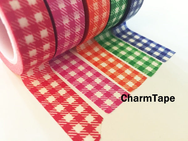 Gingham check Washi Tape 15mm x 10m WT30 - CharmTape - 19