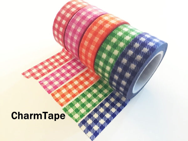 Gingham check Washi Tape 15mm x 10m WT30 - CharmTape - 20