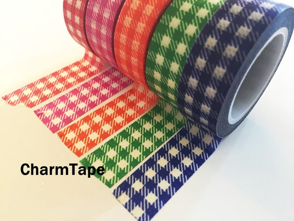 Gingham check Washi Tape 15mm x 10m WT30 - CharmTape - 22