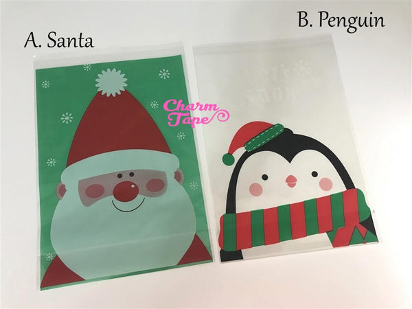 Festive Penguin / Santa Gift Bags Cello Bag - Party bags Set of 20/50/100 14x20 cm CB31