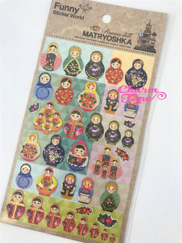 Matryoshka Russian Dolls sticker 1 Sheets by Funny SS283