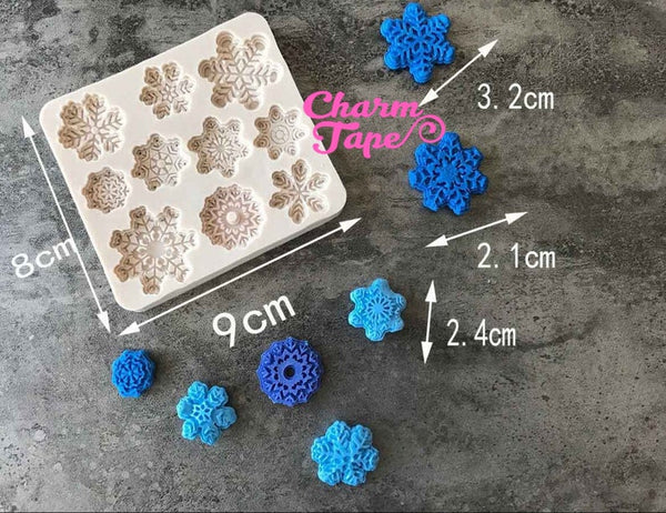 Frozen Ice Snowflake Food Grade Silicone mold for Cake, Fondant, Cake Decorating Supplies 10 cavity M195