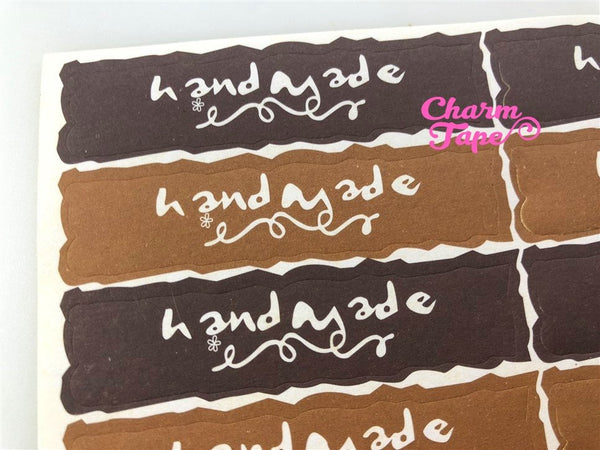 "60/120ct ""hand made"" 6.5x1.5 Paper Stickers For Gift Packing Packaging 5/10 sheets GS031"