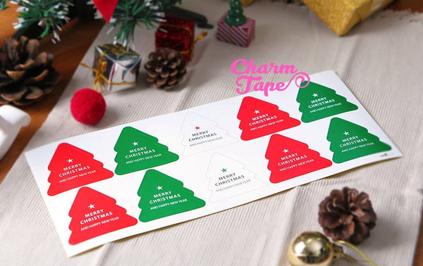 Festive Christmas Tree Sticker For Gift Packing Packaging 3/10/30 sheets GS008