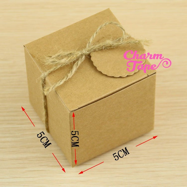 5x5x5cm Natural Kraft Paper Wedding Candy Boxes with Hemp Rope and Tags 10/50 Pieces PB050
