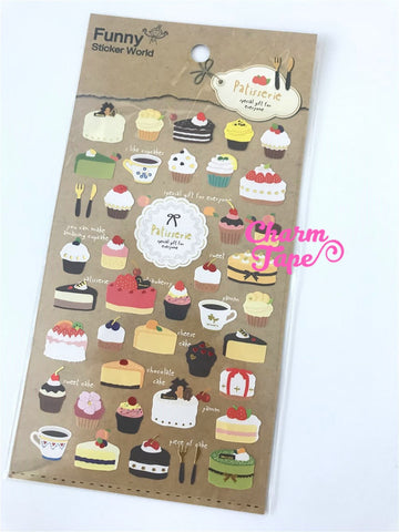 Patisserie Cakes & Cupcakes stickers - 1 sheet by Funny Korea SS252