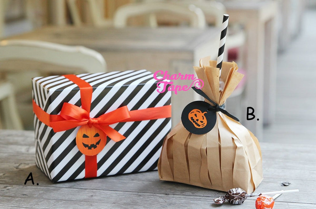 50ct Halloween Pumpkin Paper Tags Packaging / Simple Gift tags / Hang Tags / Party Favors TT04