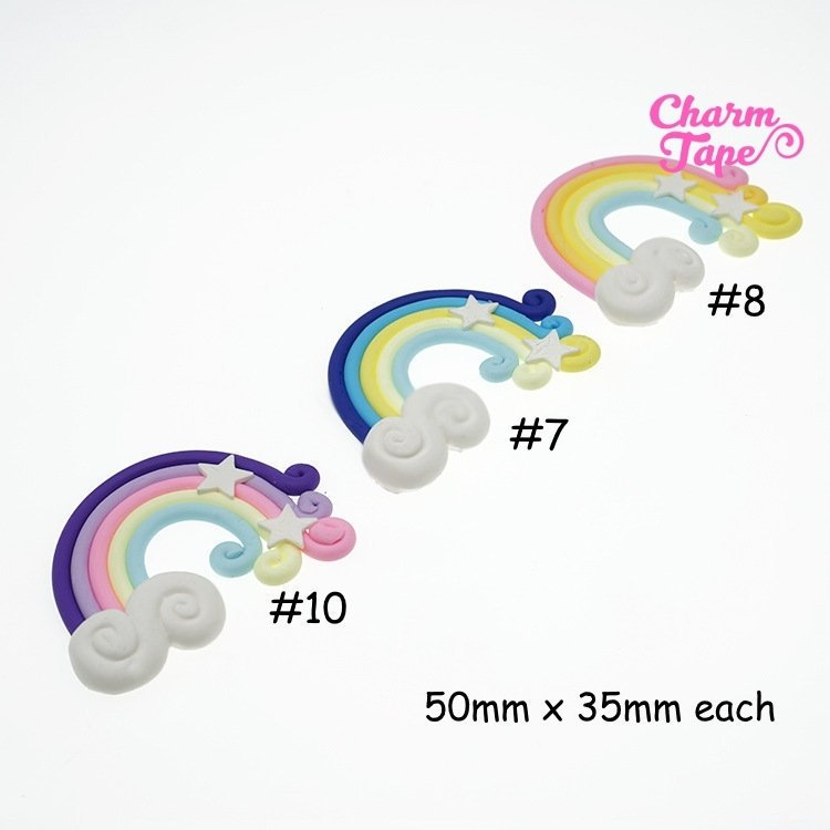 3 x Rainbow Fimo clay flat back decoden CABOCHONS cab All 3 pieces 50x35mm NO HOLES