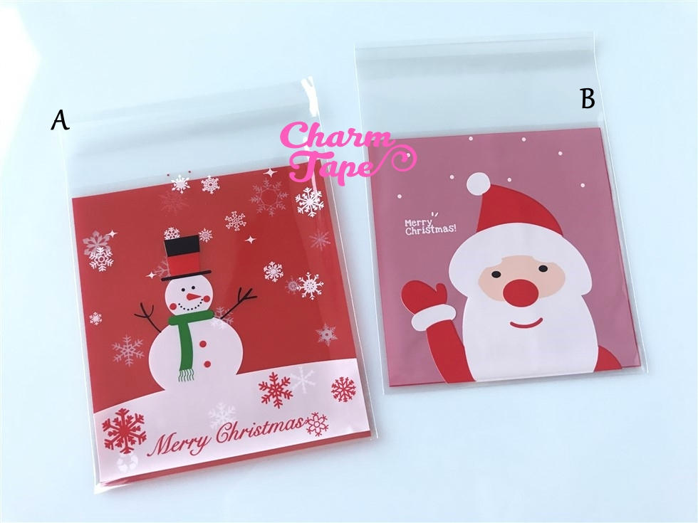 Festive Snowman or Santa Gift Bags Cello Bags Self-adhesive Cookie bags - Favors Bags - Party bags 20/50/100 bags CB58 CB59