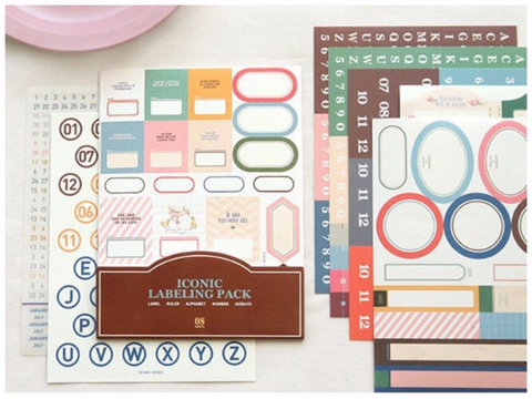 Assorted labels & index Planner Stickers - 8 sheets set SS1019