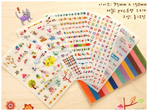 Lovely Cat & Alphabets Sticker - 6 Sheets ss105