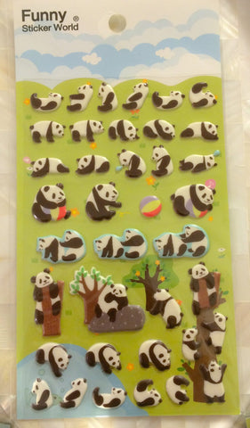 Black & white Panda Puffy art stickers By Funny 1 Sheets SS280