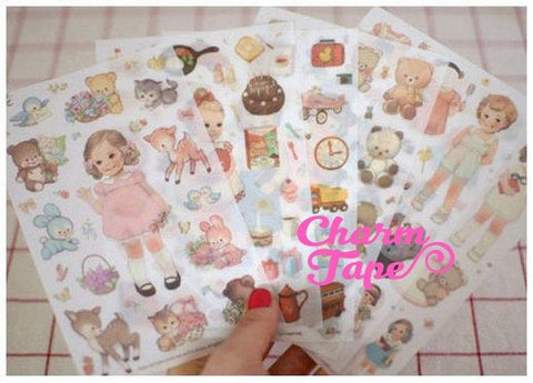 Vintage Dolls paper Stickers 6 sheets FREE SHIP with purchase SS553
