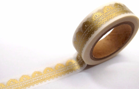 Festive Gold lace on white Washi Masking Tape - CharmTape