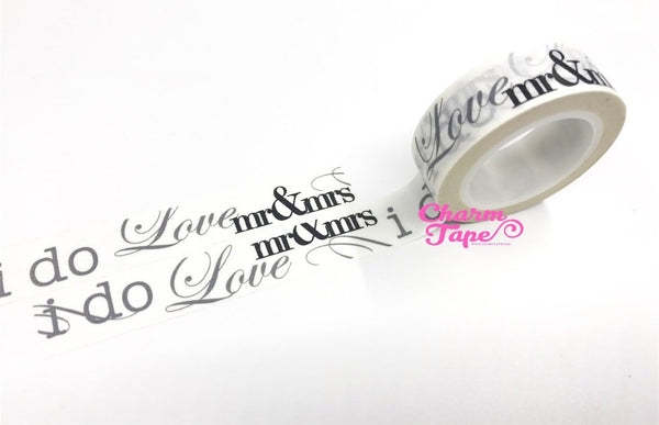Wedding Washi tape 15mm - Mr & Mrs I Do 10 meters WT743