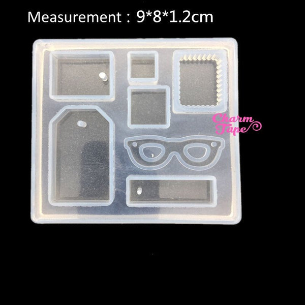 7 Cavity Pendant Making Silicone mold charm mold flexible, with Holes Mold, Eye Glasses Z0083