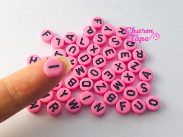 100 Pink and Black 7mm Alphabet Beads, Acrylic Pastel Pink Letter Beads AB01