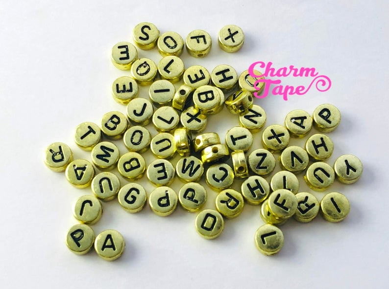100 Gold and Black 7mm Alphabet Beads, Acrylic Letter Beads AB04