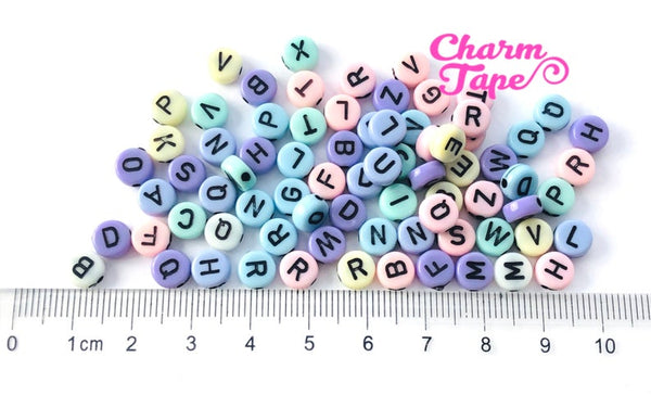 100 Pastel 7mm Alphabet Beads, Acrylic Letter Beads AB06