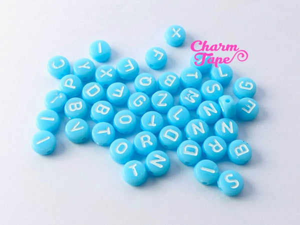 100 Light Blue or Pink 7mm Alphabet Beads, Acrylic Letter Beads AB10 AB11