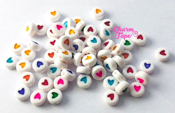 100 Hearts for Letter Beads - 7mm Little Multi color Heart Round Beads for use with Alphabet Beads AB14
