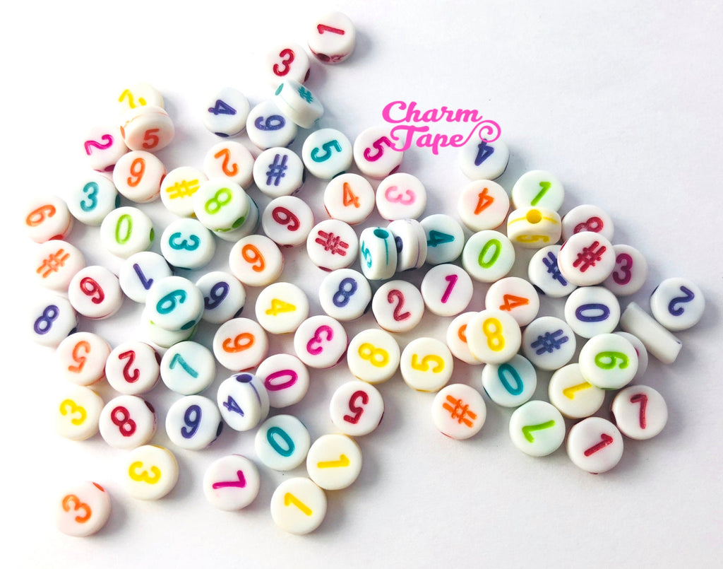 100 Number for Letter Beads - 7mm Little Multi color numbered Round Beads for use with Alphabet Beads AB16