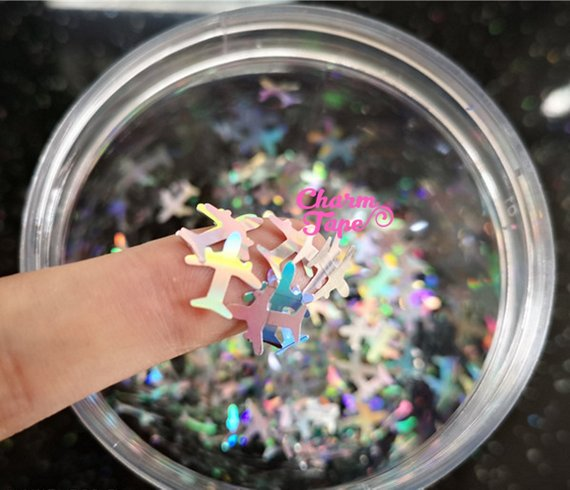 Airplane Loose glitters 10mm UV resin / Laser / Holographic / Solvent Resistant / Slime Art / Nail Art / Resin Jewelry