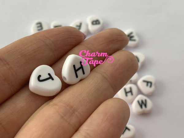 100 White and Black 11mm Heart Shape Alphabet Beads, Acrylic Letter Beads AB23