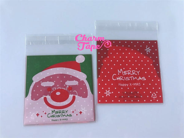Festive Santa Claus Gift Bags Cello Bags Self-adhesive Cookie bags - Favors Bags - Party bags 20/50/100 bags CB50