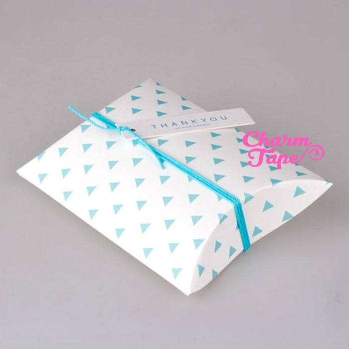 "5pcs Aqua Triangle Gift Box, Pillow Boxes For Candy, Treat - Party Favors Bags PB003 18.5×14.3 cm 7""x5"""