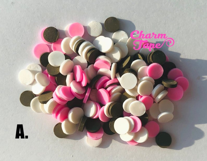 Neapolitan - Confetti Sprinkles Heart Polymer Clay Sprinkle Mix, Fake Sprinkles, Decoden Funfett Jimmies 3g/15g/50g sp513