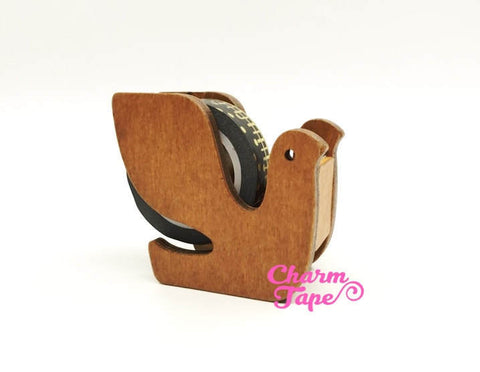 Bird Washi Tape Dispenser / Wood Tape Holder / Tape Cutter - Natural Color