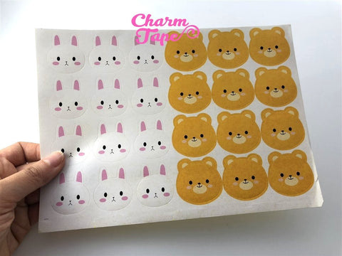 120/240ct 3.5cm Cute Rabbit & Bear Paper Stickers For Gift Packing Packaging 5/10 sheets GS042