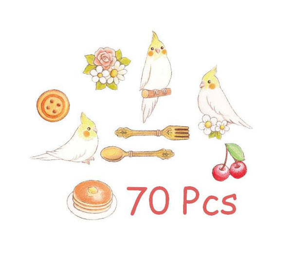 Cartoon Bird Sticker Flake Seals Set 70 pieces SS927 - CharmTape - 5