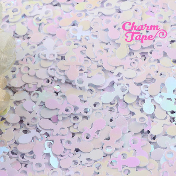 Baby Shower Pacifier Loose glitters Confetti 13mm Party Decor UV resin, Iridescent Glitter Balloon cut out